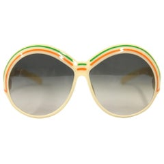 1970s Christian Dior Ivory, Green and Orange Oval Sunglasses