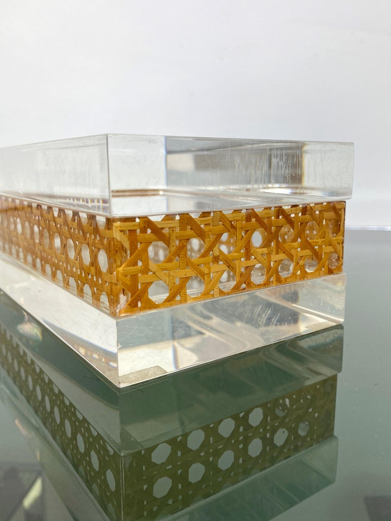 1970s Christian Dior Lucite Decorative Box with Wicker Rattan Canework, France For Sale 8