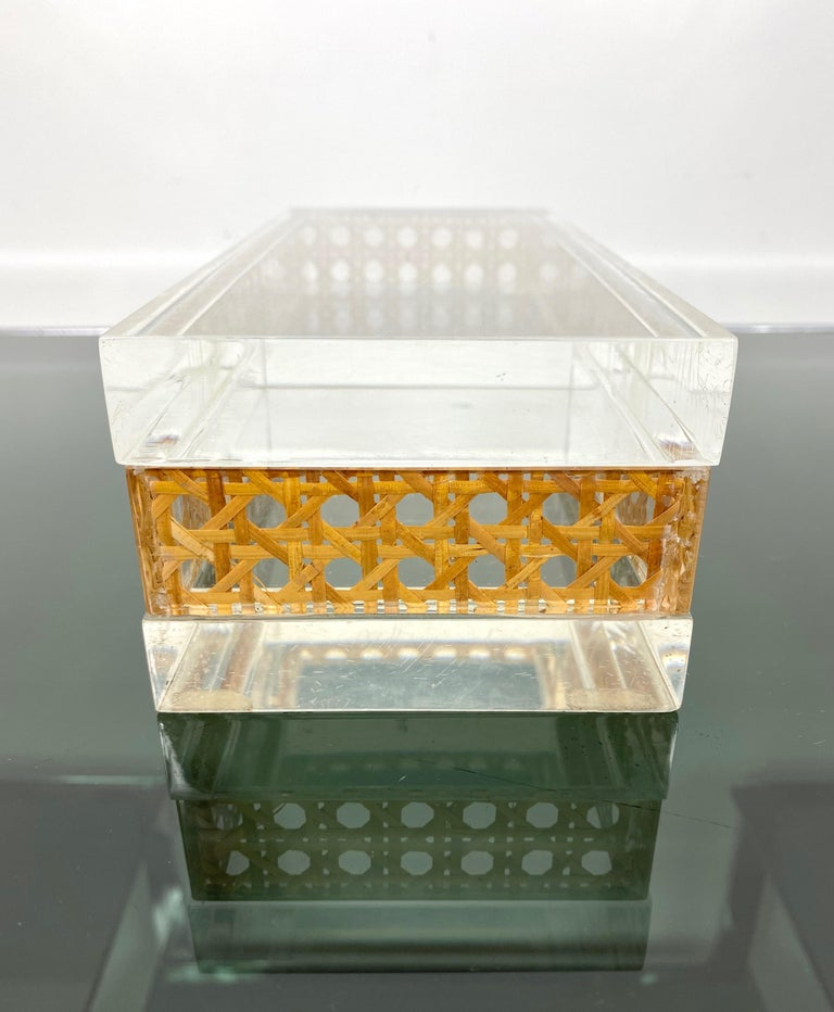 1970s Christian Dior Lucite Decorative Box with Wicker Rattan Canework, France For Sale 9