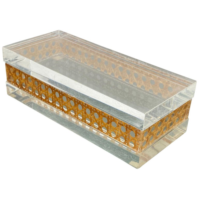 1970s Christian Dior Lucite Decorative Box with Wicker Rattan Canework, France For Sale