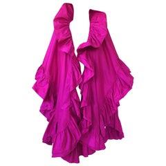 1970s Christian Dior Silk Pink Fuschia Ruffled Evening Cape or Shawl