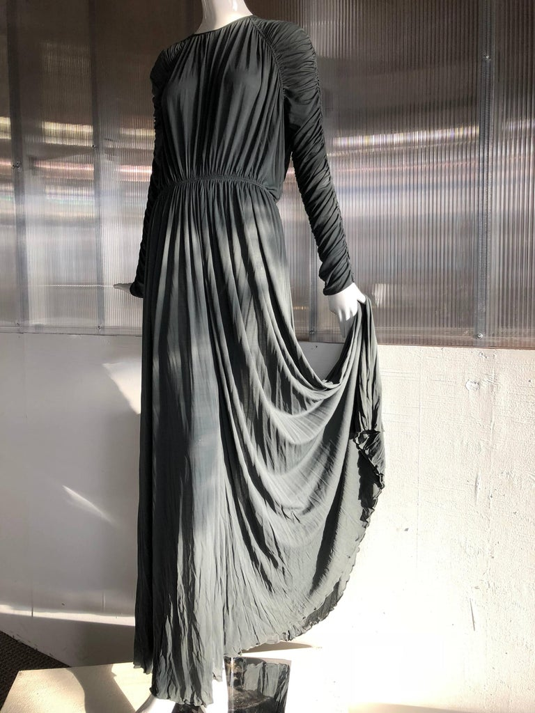 1970s Christian Dior Slate Gray Fine Silk Jersey Ruched Grecian-Style Gown For Sale 6