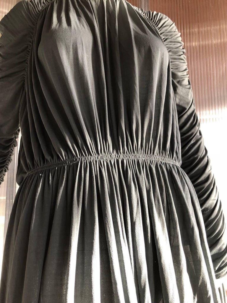 1970s Christian Dior Slate Gray Fine Silk Jersey Ruched Grecian-Style Gown For Sale 1