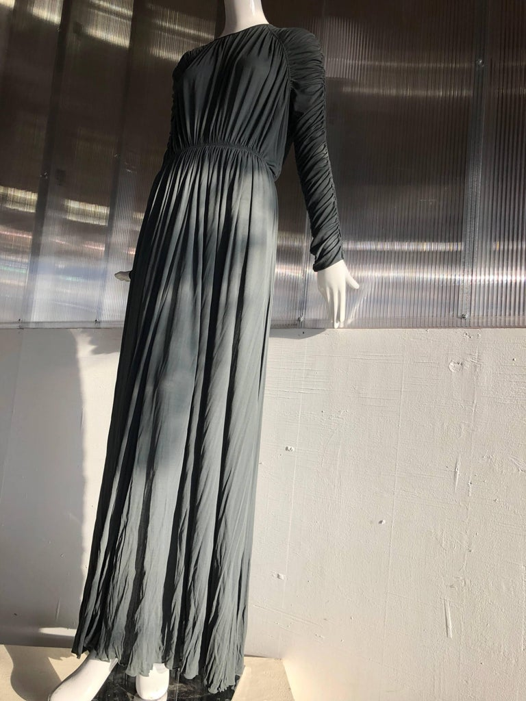 1970s Christian Dior Slate Gray Fine Silk Jersey Ruched Grecian-Style Gown For Sale 2
