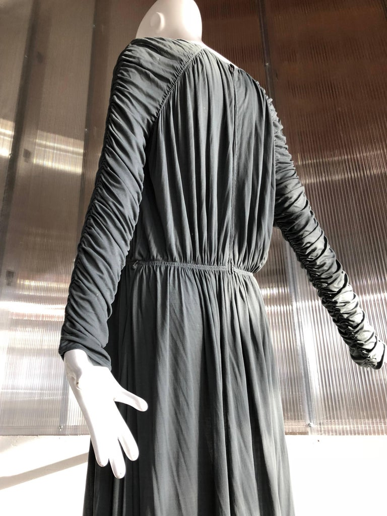 1970s Christian Dior Slate Gray Fine Silk Jersey Ruched Grecian-Style Gown For Sale 3