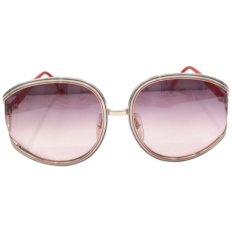 1970s Christian Dior tri color frame sunglasses