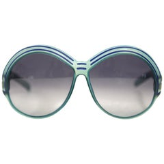 1970s Christian Dior Turquoise and Bright Blue Oval Sunglasses