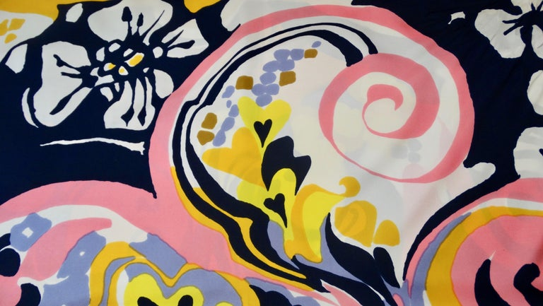 1970s Christian Dior Watercolor Motif Scarf  In Good Condition For Sale In Scottsdale, AZ