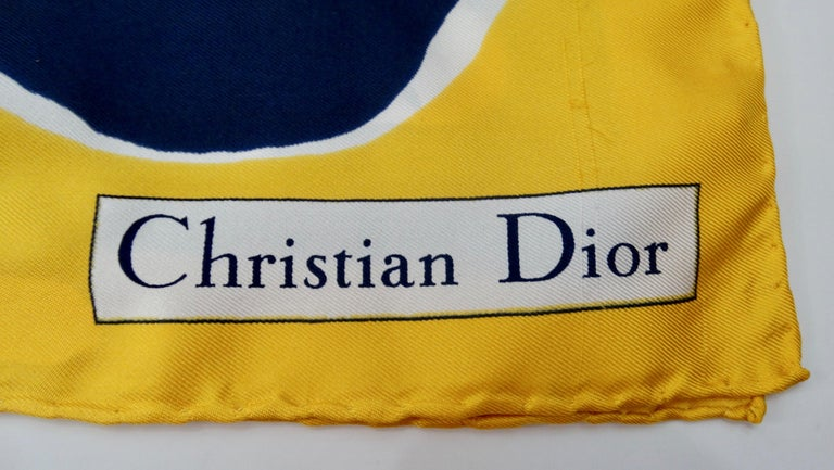 Women's or Men's 1970s Christian Dior Watercolor Motif Scarf  For Sale