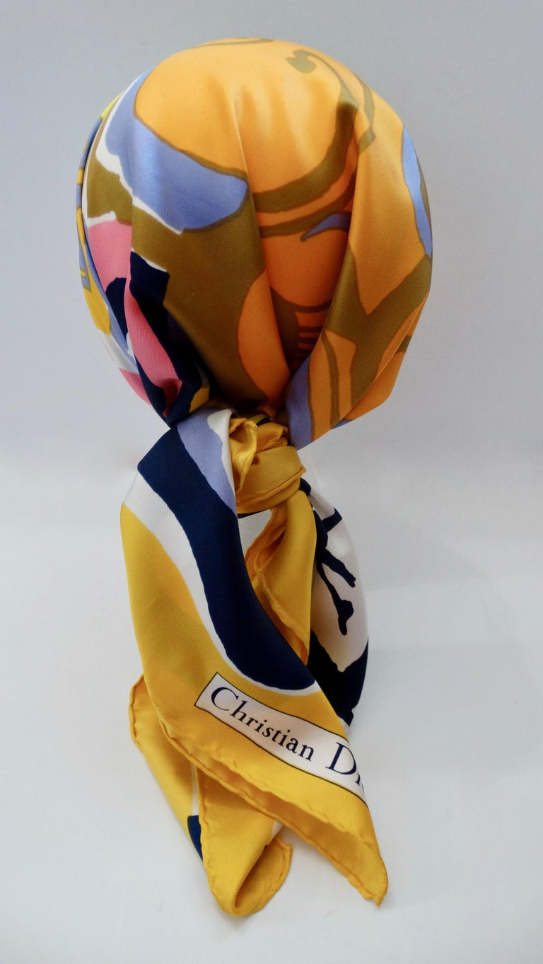 1970s Christian Dior Watercolor Motif Scarf  For Sale 1