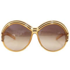 1970s Christian Dior Yellow and Brown Oval Sunglasses