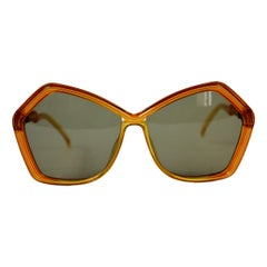 1970s Christian Dior Yellow Optyl Simon Murray Oversize Squared Sunglasses