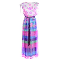 1970s Christian Rupert Pink & Purple Floral & Stripe Vintage Chiffon Maxi Dress