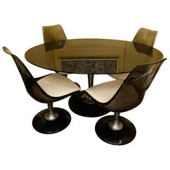 1970s Chromcraft Smoked Glass and Lucite Oval Tulip Dining Table and 4 Chairs