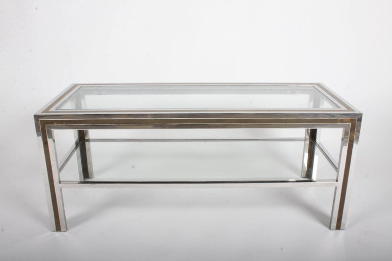 Romeo Rega Hollywood Regency Style 1970s Chrome and Brass Coffee Table For Sale 3