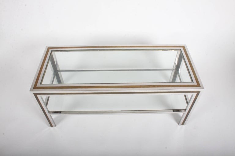 Mid-Century Modern Romeo Rega Hollywood Regency Style 1970s Chrome and Brass Coffee Table For Sale