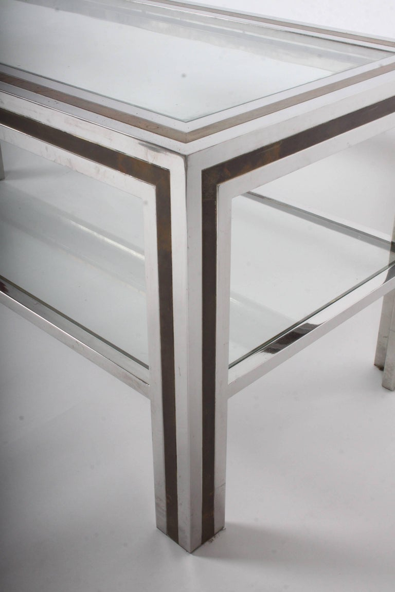 Plated Romeo Rega Hollywood Regency Style 1970s Chrome and Brass Coffee Table For Sale