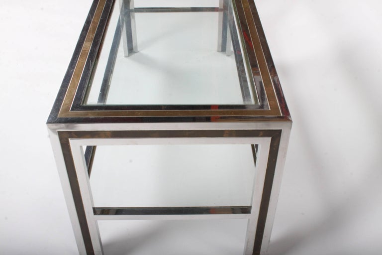 Late 20th Century Romeo Rega Hollywood Regency Style 1970s Chrome and Brass Coffee Table For Sale