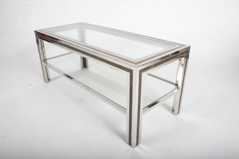 Romeo Rega Hollywood Regency Style 1970s Chrome and Brass Coffee Table For Sale 1