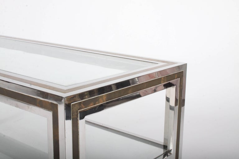 Romeo Rega Hollywood Regency Style 1970s Chrome and Brass Coffee Table For Sale 2