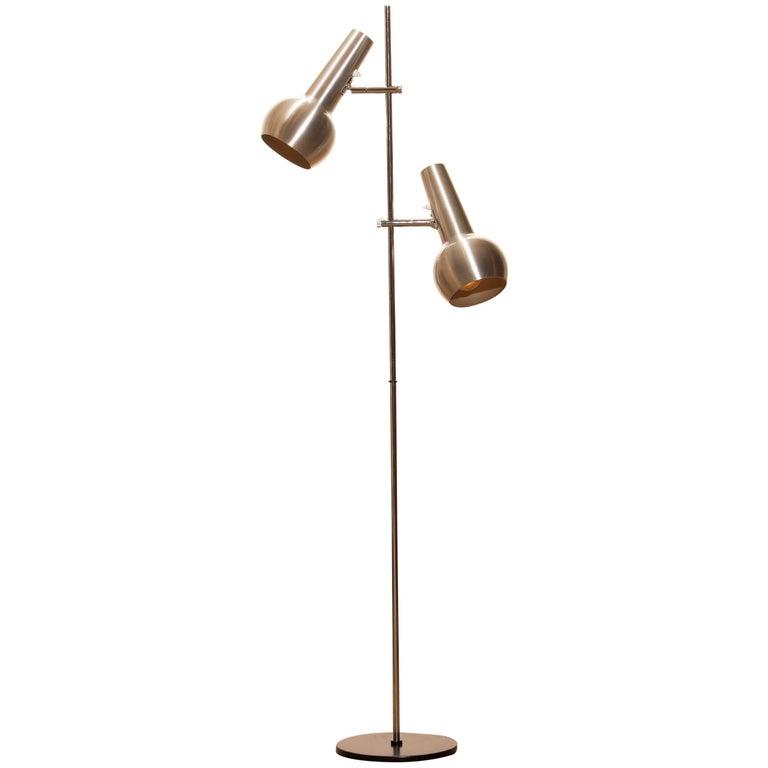 Mid-Century Modern 1970s, Chrome and Aluminum Double Shade Floor Lamp by Koch & Lowy