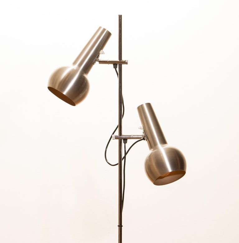 Central American 1970s, Chrome and Aluminum Double Shade Floor Lamp by Koch & Lowy