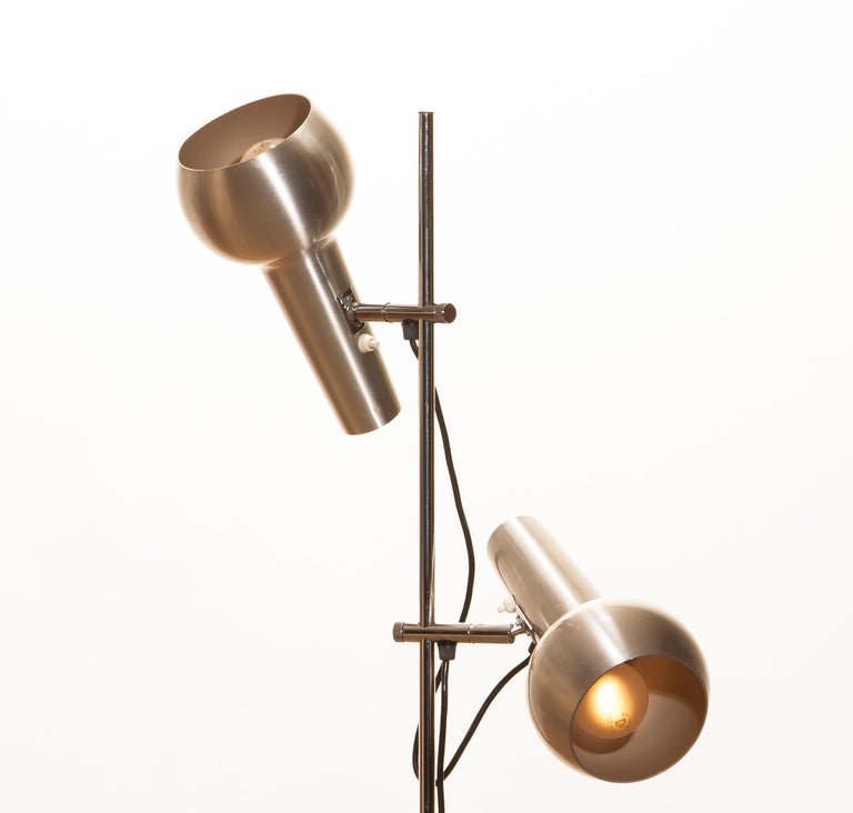 1970s, Chrome and Aluminum Double Shade Floor Lamp by Koch & Lowy 1
