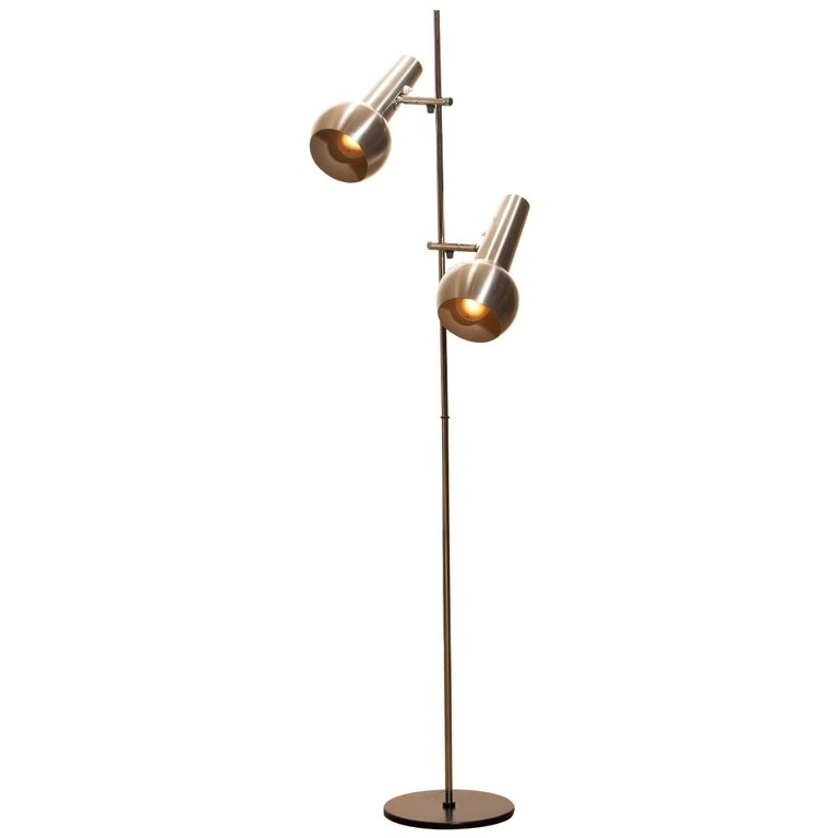 1970s, Chrome and Aluminum Double Shade Floor Lamp by Koch & Lowy