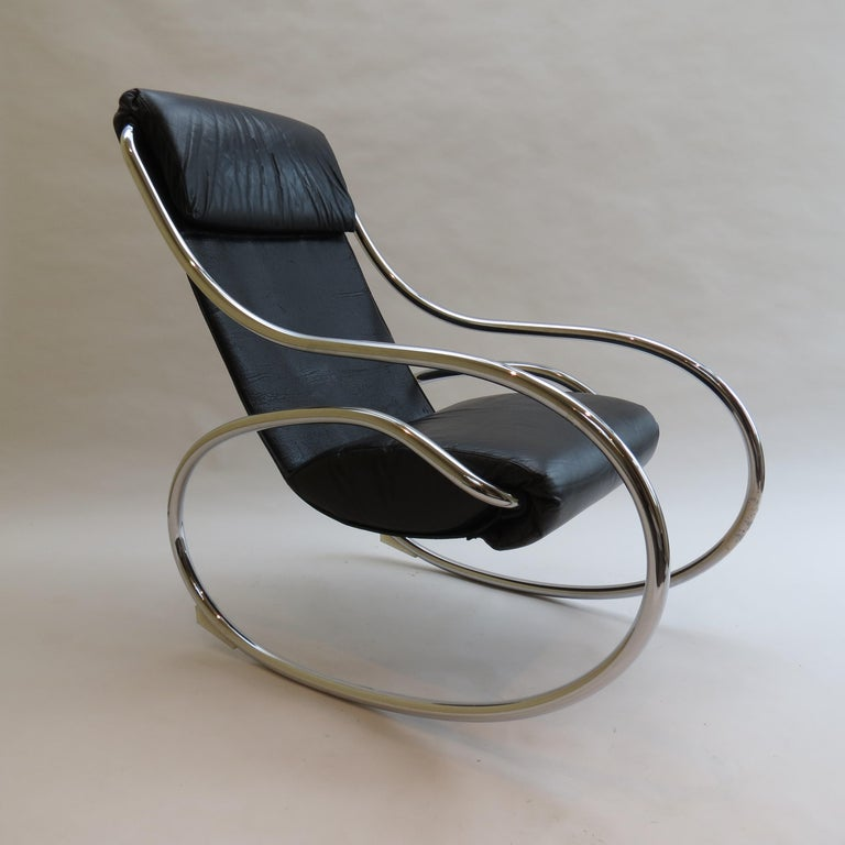 Mid-Century Modern 1970s Chrome and Black Leather Sculptural Rocking Chair by Heals For Sale