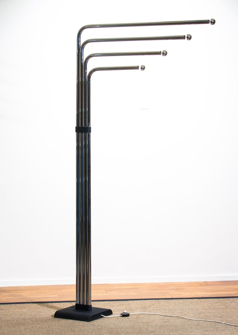 1970s Chrome and Black Tube Floor Lamp by Goffredo Reggiani for Reggiani, Italy For Sale 4