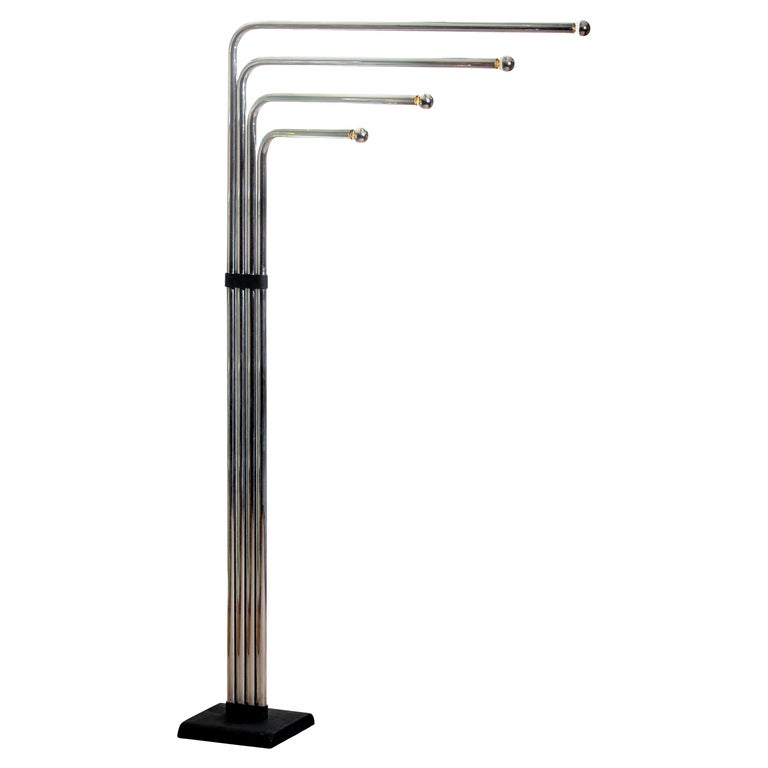 1970s Chrome and Black Tube Floor Lamp by Goffredo Reggiani for Reggiani, Italy For Sale