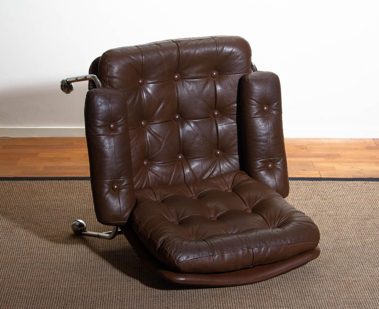 1970s, Chrome and Brown Leather Easy / Lounge Chair by Scapa Rydaholm, Sweden 5