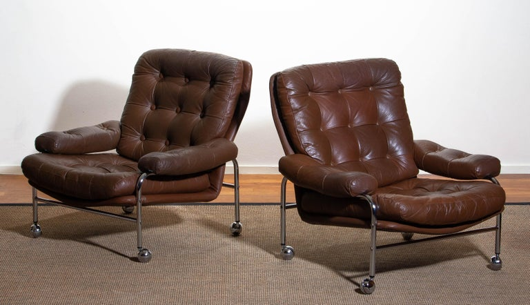 1970s, Chrome and Brown Leather Easy / Lounge Chair by Scapa Rydaholm, Sweden For Sale 6
