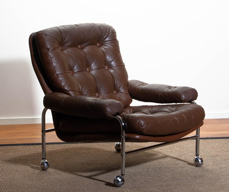 Mid-Century Modern 1970s, Chrome and Brown Leather Easy / Lounge Chair by Scapa Rydaholm, Sweden
