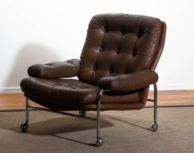 1970s, Chrome and Brown Leather Easy / Lounge Chair by Scapa Rydaholm, Sweden In Good Condition For Sale In Silvolde, Gelderland