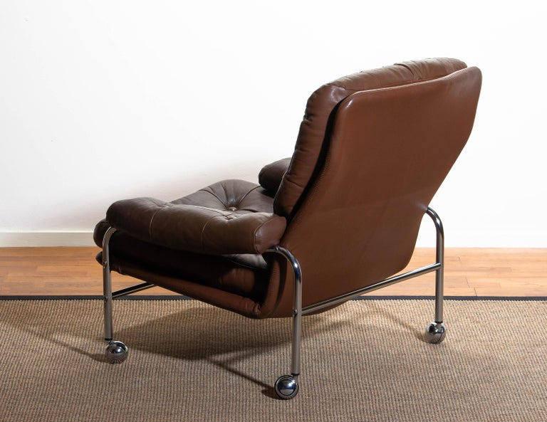1970s, Chrome and Brown Leather Easy / Lounge Chair by Scapa Rydaholm, Sweden 1