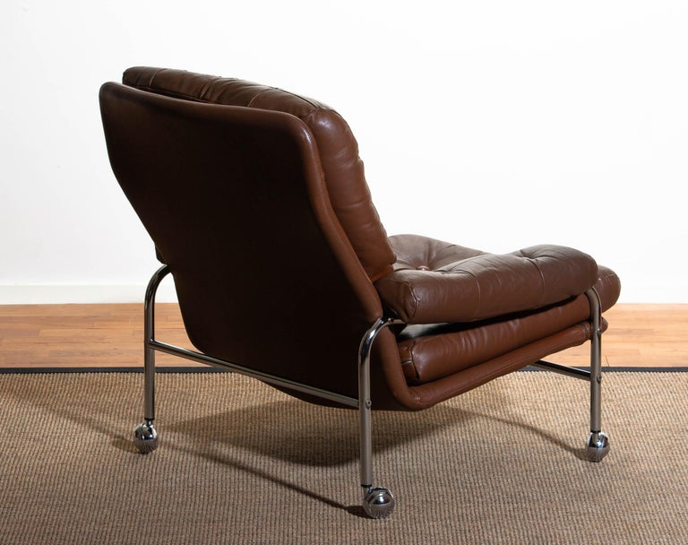 1970s, Chrome and Brown Leather Easy / Lounge Chair by Scapa Rydaholm, Sweden 2