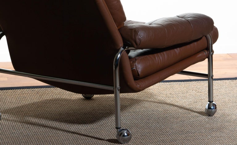1970s, Chrome and Brown Leather Easy / Lounge Chair by Scapa Rydaholm, Sweden For Sale 3