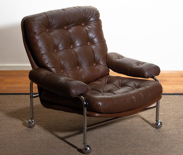 1970s, Chrome and Brown Leather Easy / Lounge Chair by Scapa Rydaholm, Sweden 4