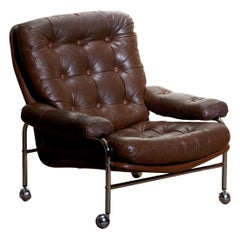 1970s, Chrome and Brown Leather Easy / Lounge Chair by Scapa Rydaholm, Sweden