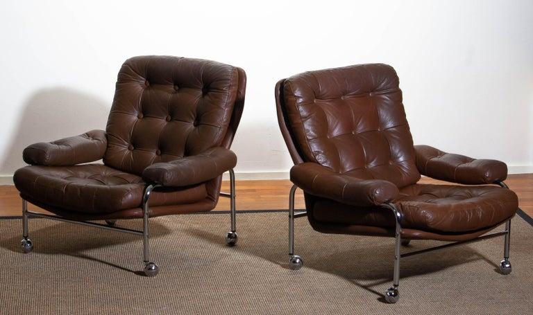 1970s, Chrome And Brown Leather Easy / Lounge Chairs By