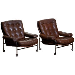 1970s, Chrome and Brown Leather Easy / Lounge Chairs by Scapa Rydaholm, Sweden