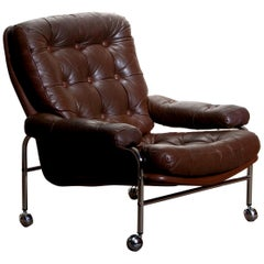 1970s, Chrome and Brown Leather Easy or Lounge Chair by Scapa Rydaholm, Sweden