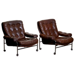 1970s, Chrome and Brown Leather Lounge Chairs by Scapa Rydaholm, Sweden