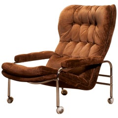 1970s, Chrome and Brown Velours Fabric Lounge Chair by Sapa Rydaholm, Sweden