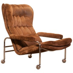 1970s, Chrome and Brown Velour's Fabric Lounge Chair by Sapa Rydaholm, Sweden