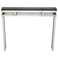 1970s Chrome and Glass Vintage Console Table