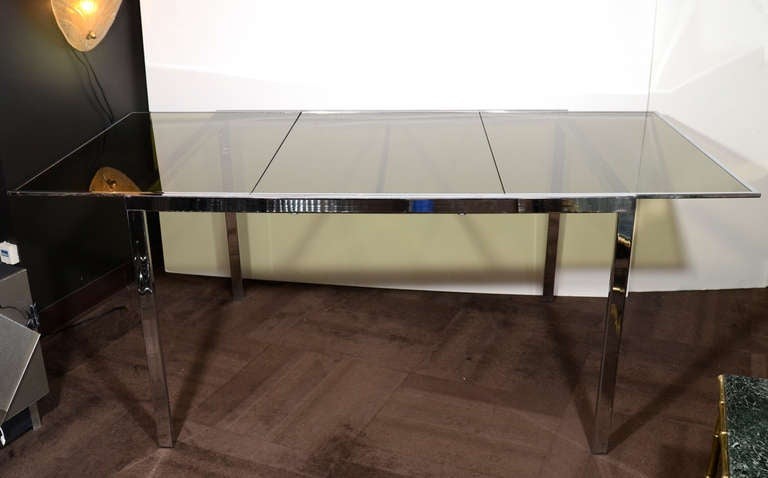 Mid-Century Modern 1970s Chrome and Grey Glass Extension Dining Table by Milo Baughman for DIA For Sale