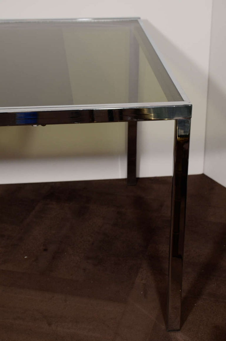 American 1970s Chrome and Grey Glass Extension Dining Table by Milo Baughman for DIA For Sale