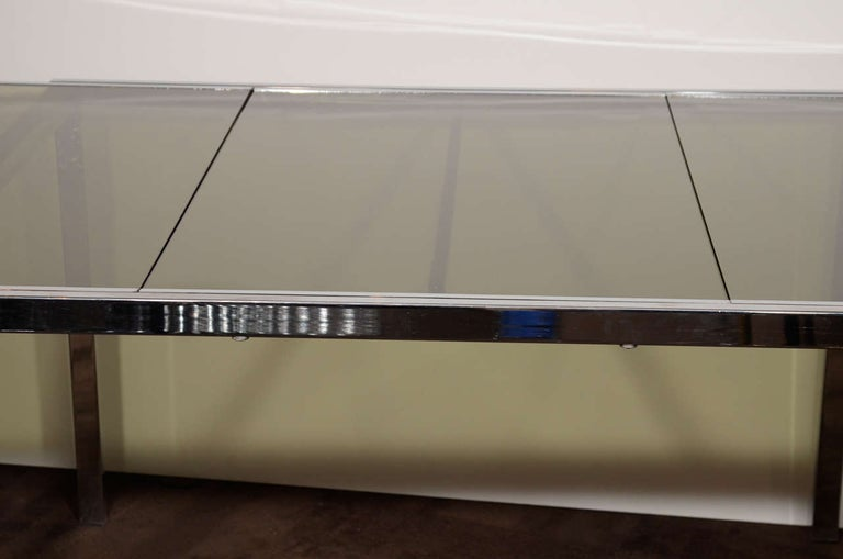 Late 20th Century 1970s Chrome and Grey Glass Extension Dining Table by Milo Baughman for DIA For Sale